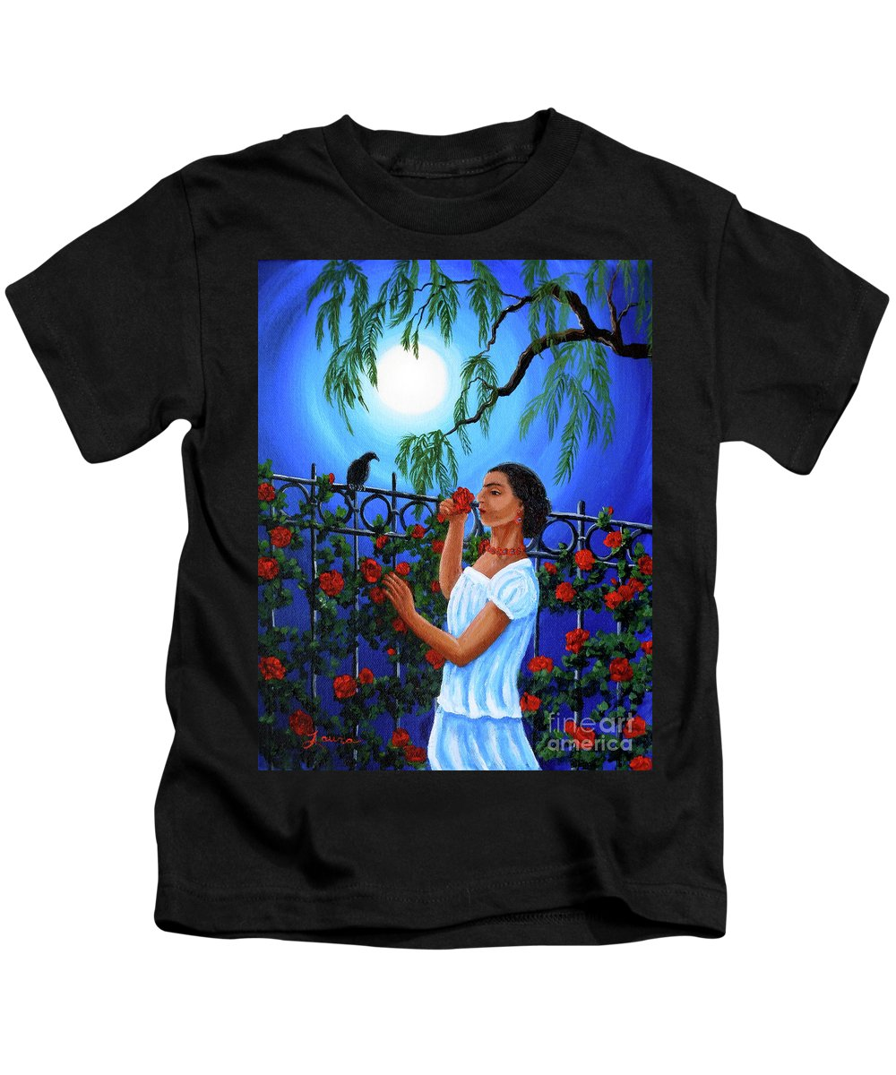Frida Kids T-Shirt featuring the painting The Scent Of Red Roses by Laura Iverson