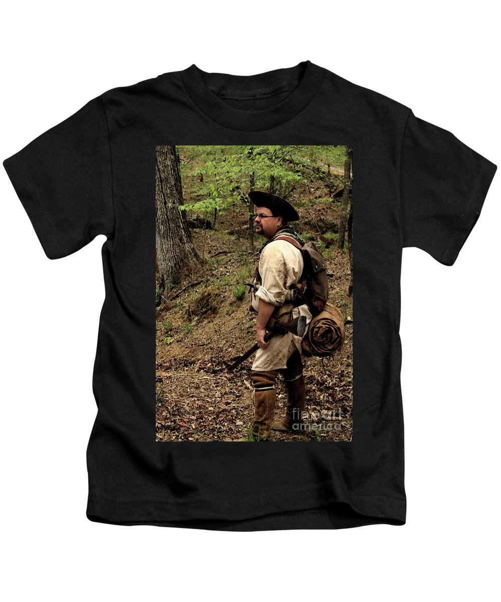 Reenactment Photographs Kids T-Shirt featuring the photograph The Scout3 by Kim Henderson