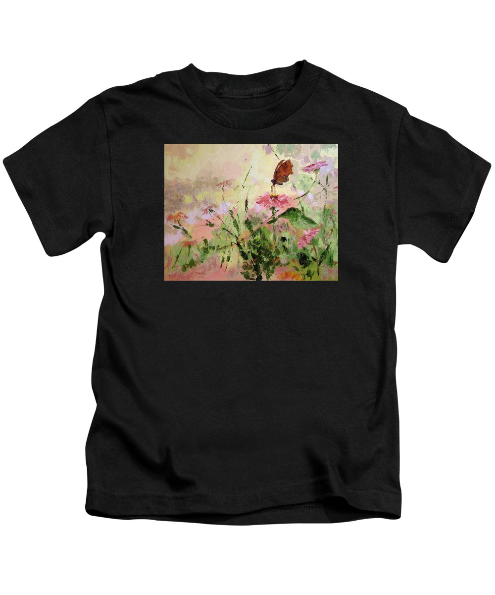 Butterflies Kids T-Shirt featuring the painting The Seeker by Ginger Concepcion
