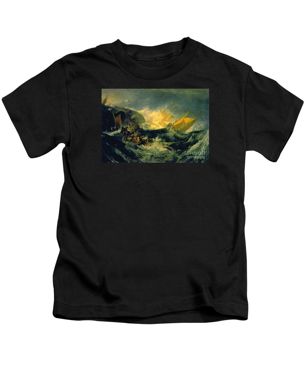 The Shipwreck Of The Minotaur Kids T-Shirt featuring the painting The Shipwreck Of The Minotaur by MotionAge Designs