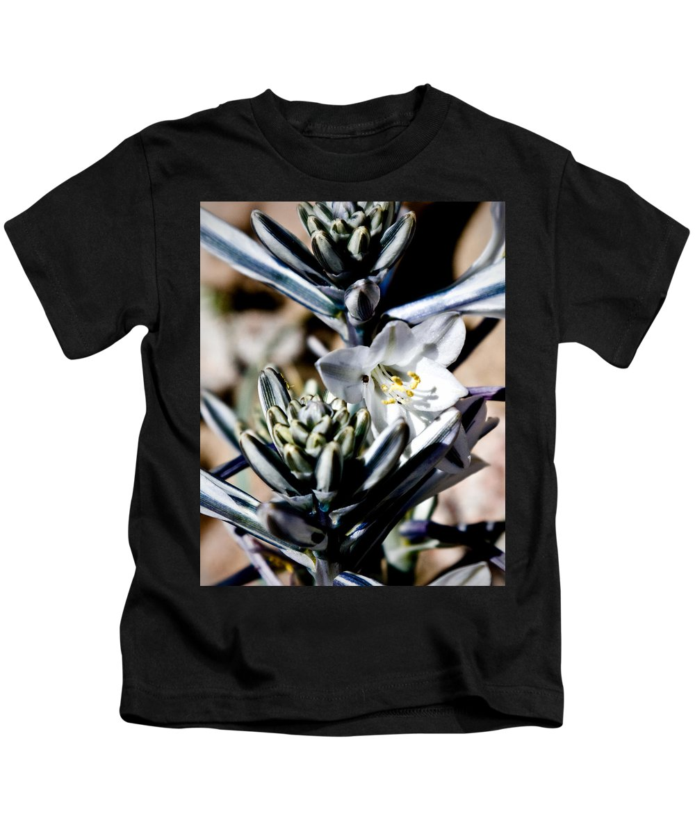 Desert Lily Kids T-Shirt featuring the photograph The Shy Desert Lily by Chris Brannen
