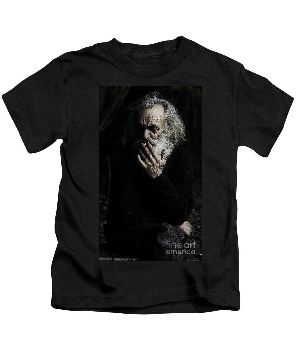 Homeless Male Smoking Smoker Aged Kids T-Shirt featuring the photograph The Smoker by Sheila Smart Fine Art Photography