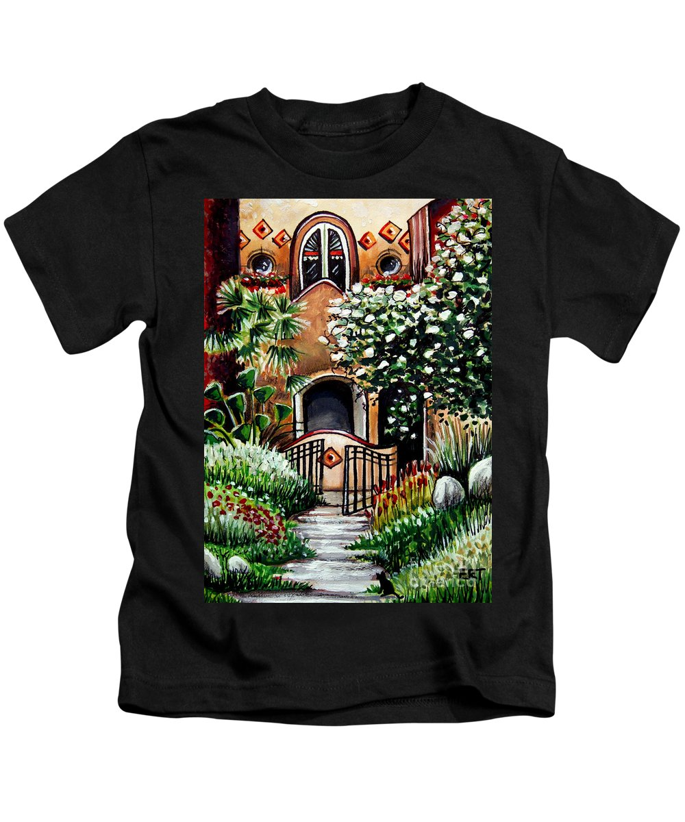 Gardens Kids T-Shirt featuring the painting The Spanish Gardens by Elizabeth Robinette Tyndall
