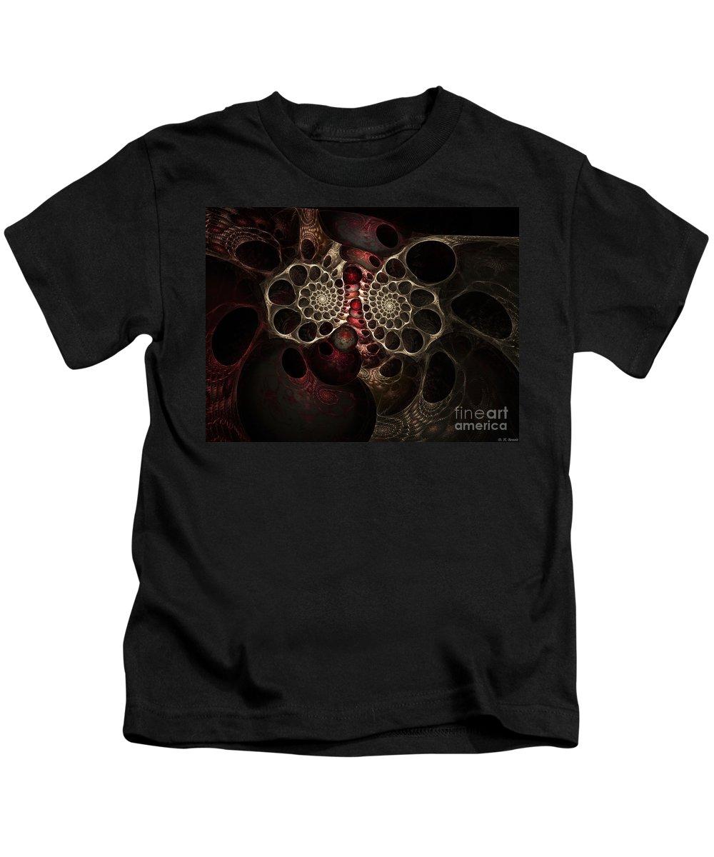 Digital Kids T-Shirt featuring the digital art The Spiral Creature by Deborah Benoit
