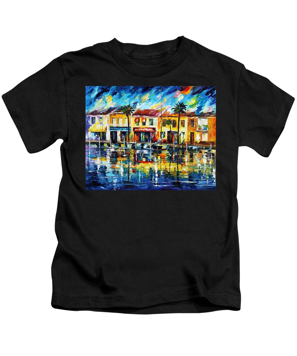 Afremov Kids T-Shirt featuring the painting The Spirit Of Miami by Leonid Afremov