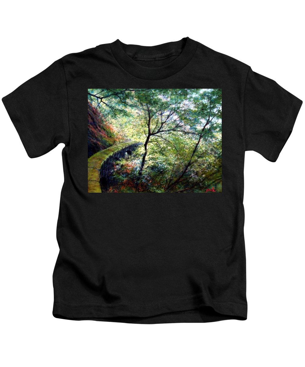 Pastel Kids T-Shirt featuring the painting The Stone Wall by Jim Gola