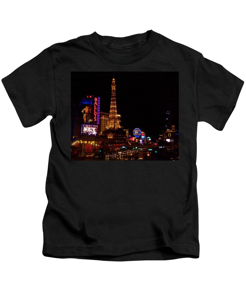 Vegas Kids T-Shirt featuring the photograph The Strip At Night 1 by Anita Burgermeister