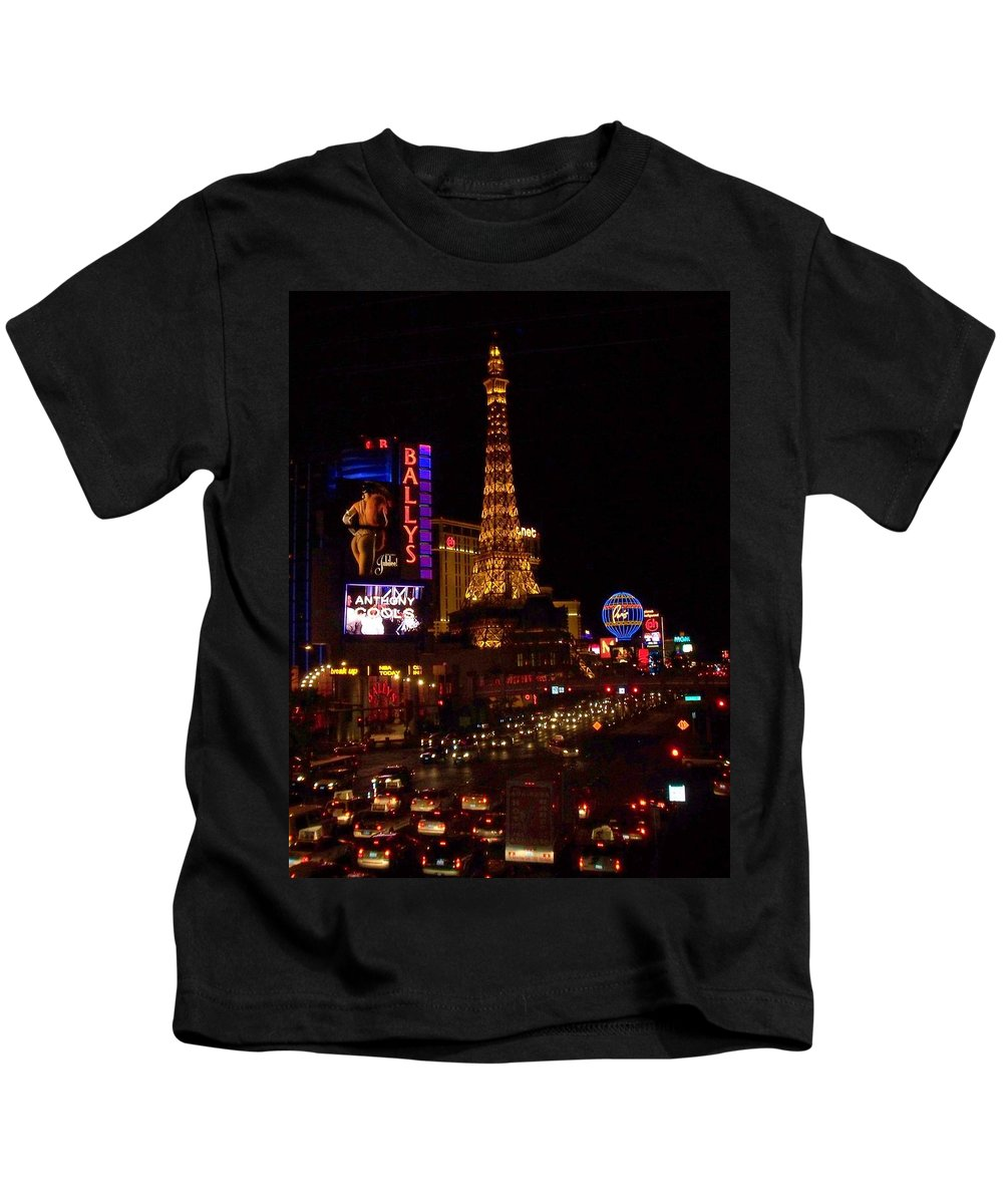 Vegas Kids T-Shirt featuring the photograph The Strip At Night 2 by Anita Burgermeister