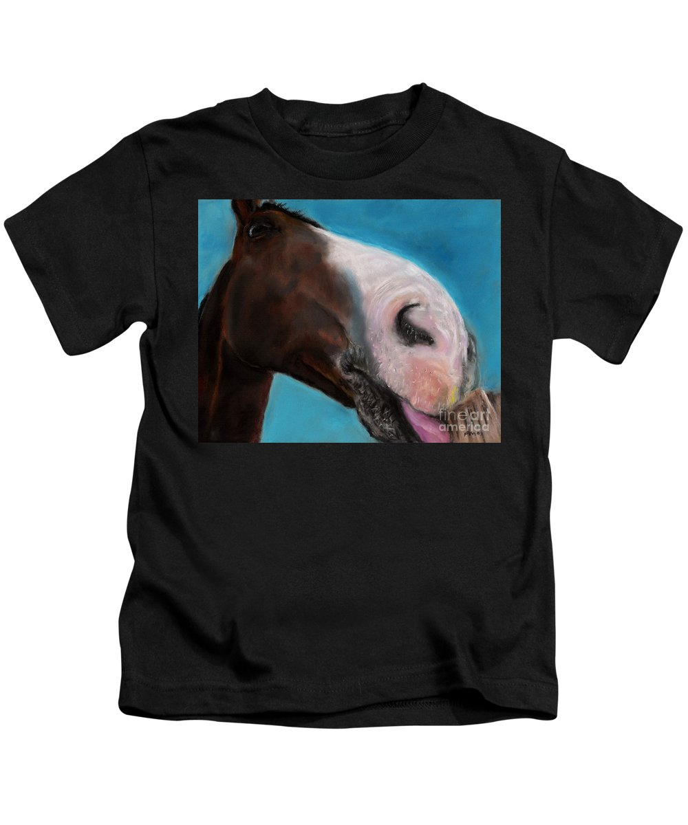 Abstract Horses Kids T-Shirt featuring the painting The Tasty Post by Frances Marino