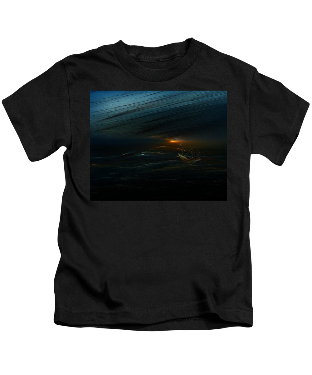 Digital Painting Kids T-Shirt featuring the digital art The Tempest Revisited by David Lane