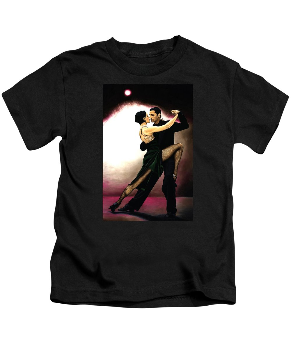 Tango Kids T-Shirt featuring the painting The Temptation of Tango by Richard Young
