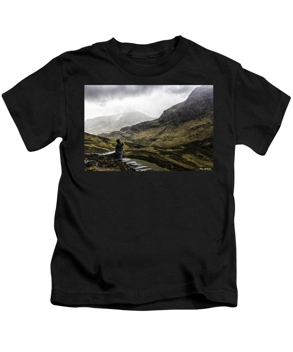 Glencoe Kids T-Shirt featuring the photograph The Three Sisters by Fran Gallogly