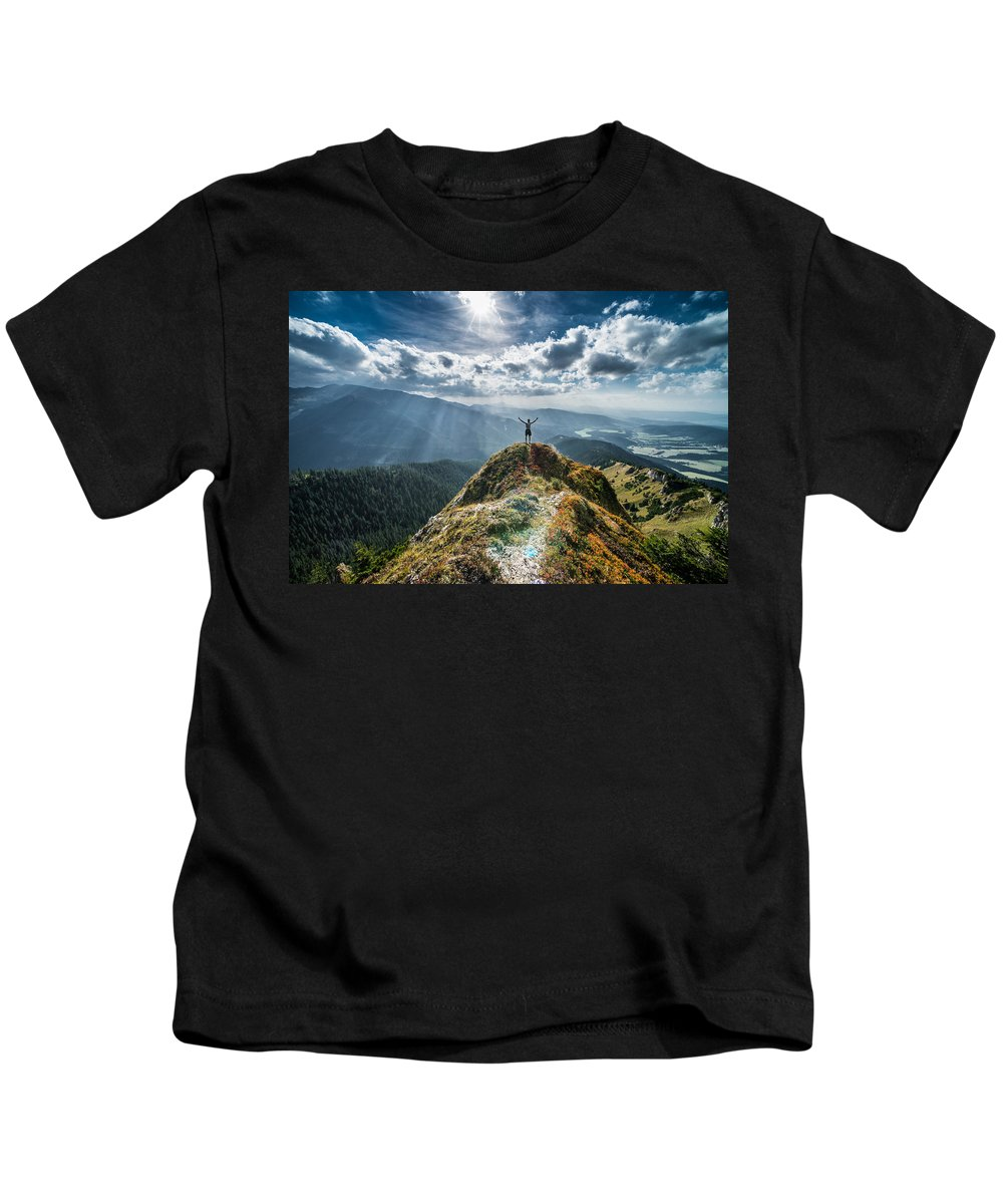Landscape Kids T-Shirt featuring the photograph The Top by Lukas Kucej