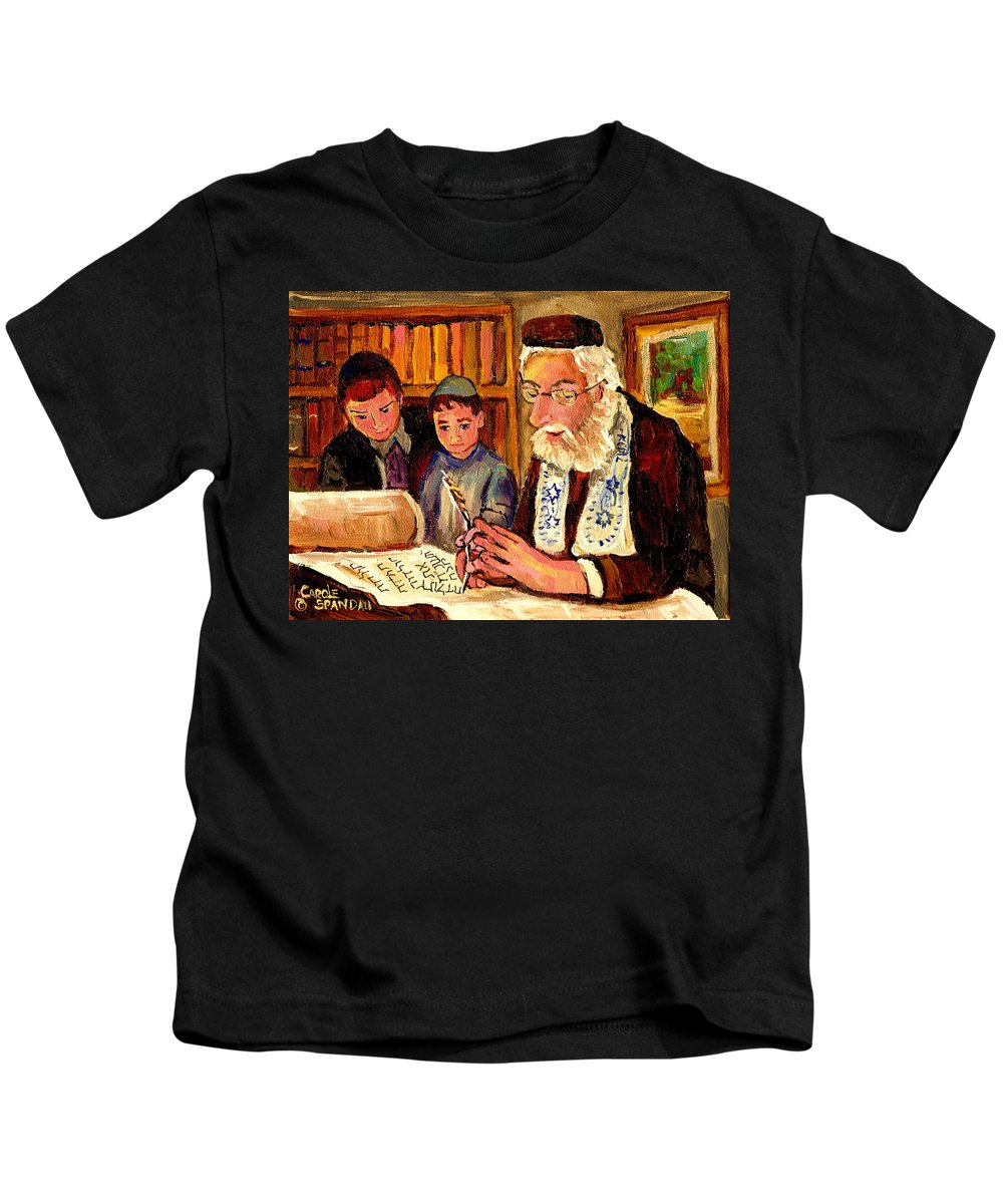 Torah Kids T-Shirt featuring the painting The Torah Scribe by Carole Spandau