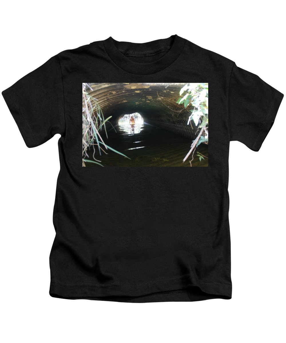 Lucky Cole Everglades Photographer Female Nude Everglades Kids T-Shirt featuring the photograph The Tunnel 2 by Lucky Cole