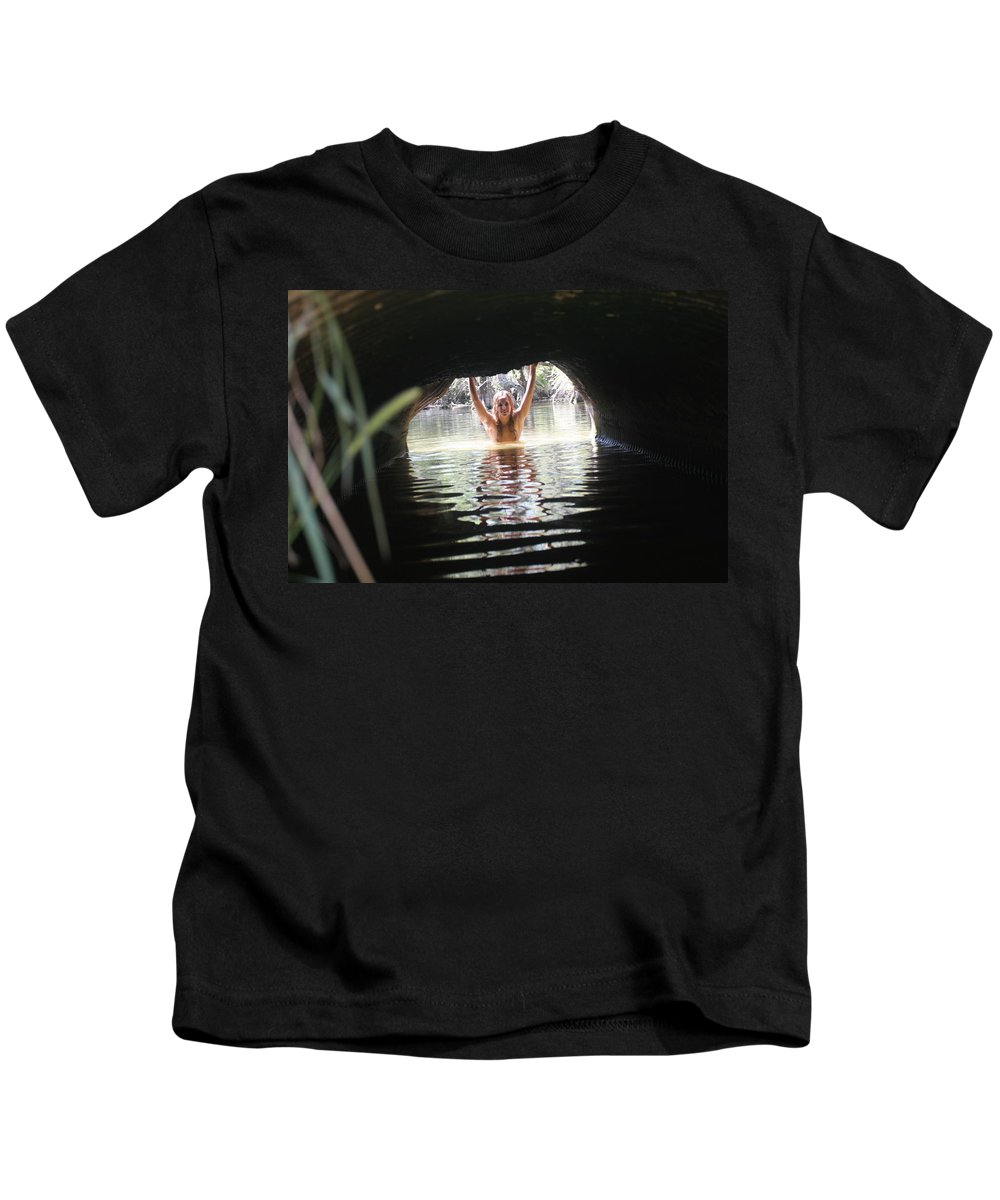 Lucky Cole Everglades Photographer Female Nude Everglades Kids T-Shirt featuring the photograph The Tunnel 4 by Lucky Cole