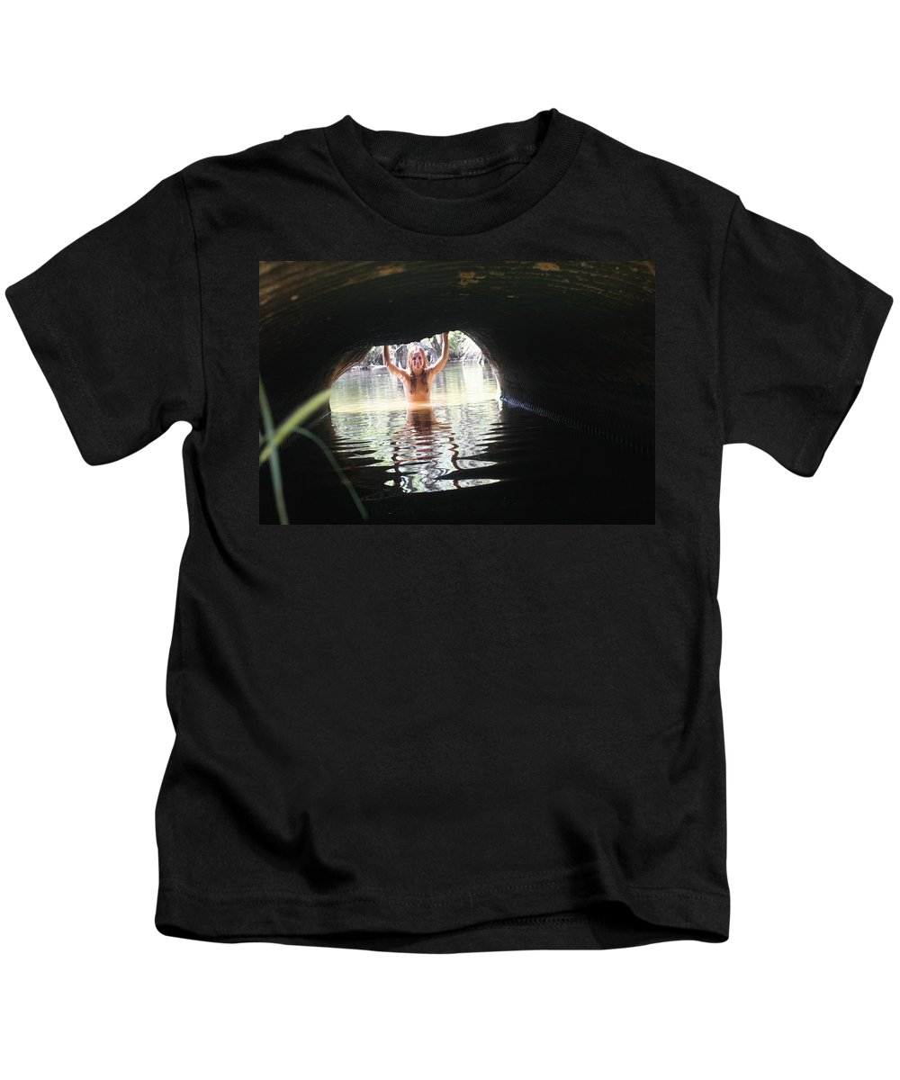 Lucky Cole Everglades Photographer Female Nude Everglades Kids T-Shirt featuring the photograph The Tunnel 6 by Lucky Cole