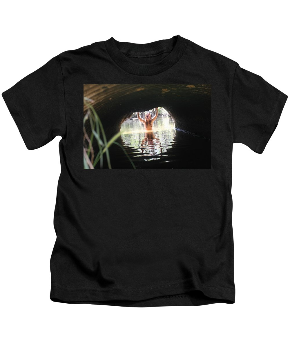 Lucky Cole Everglades Photographer Female Nude Everglades Kids T-Shirt featuring the photograph The Tunnel 7 by Lucky Cole