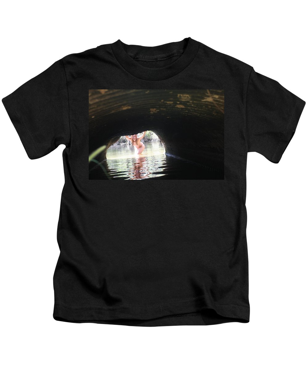Lucky Cole Everglades Photographer Female Nude Everglades Kids T-Shirt featuring the photograph The Tunnel 8 by Lucky Cole