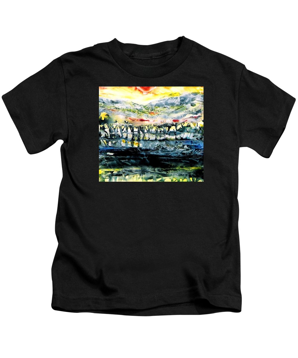 Sunrise Kids T-Shirt featuring the painting The Twisted Reach Of Crazy Sorrow by Trudi Doyle