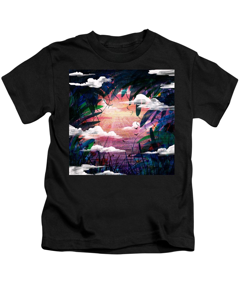 Abstract Kids T-Shirt featuring the digital art The View From Up Here by Rachel Christine Nowicki