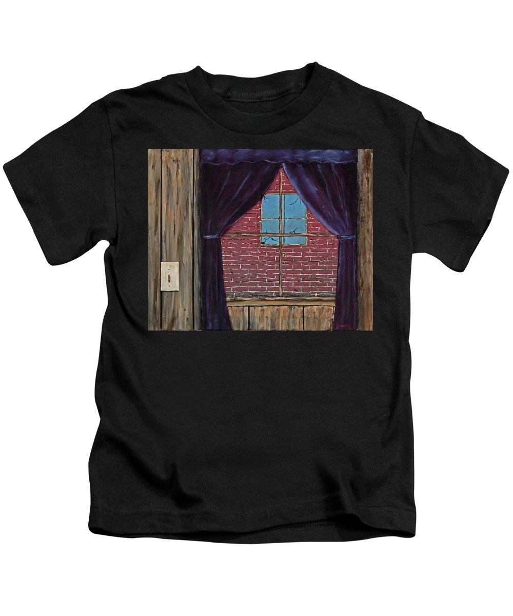 Curtains Kids T-Shirt featuring the painting The View by Larry Guenther