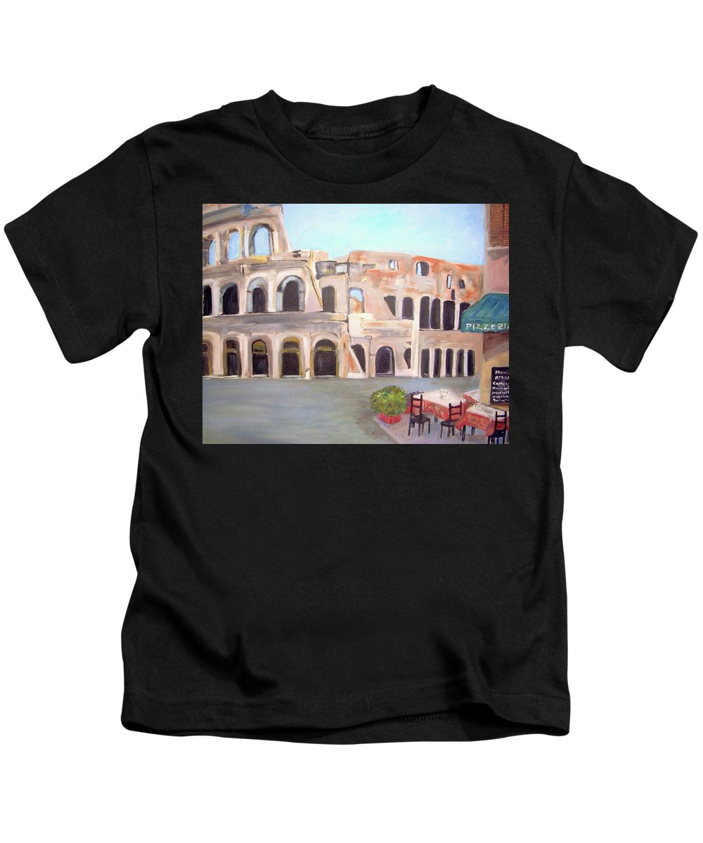 Cityscape Kids T-Shirt featuring the painting The View Of The Coliseum In Rome by Teresa Dominici