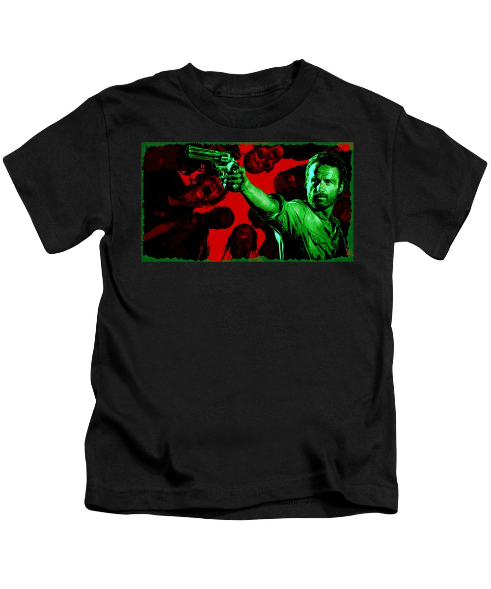 The Walking Dead Kids T-Shirt featuring the digital art The Walking Red by Martin James