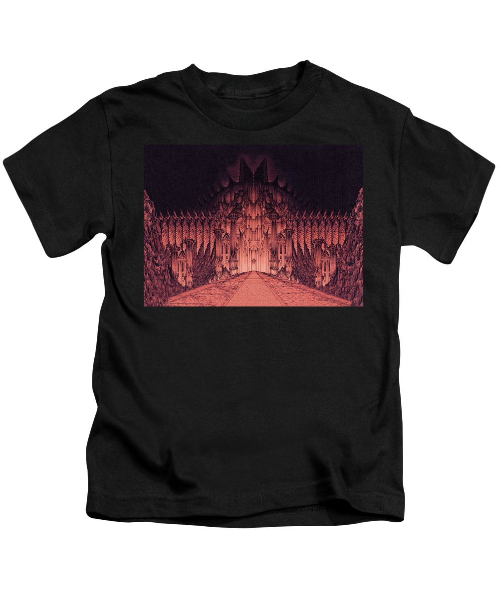 Barad Dur Kids T-Shirt featuring the drawing The Walls Of Barad Dur by Curtiss Shaffer