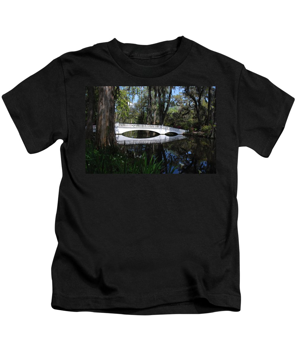 Photography Kids T-Shirt featuring the photograph The White Bridge In Magnolia Gardens Charleston by Susanne Van Hulst