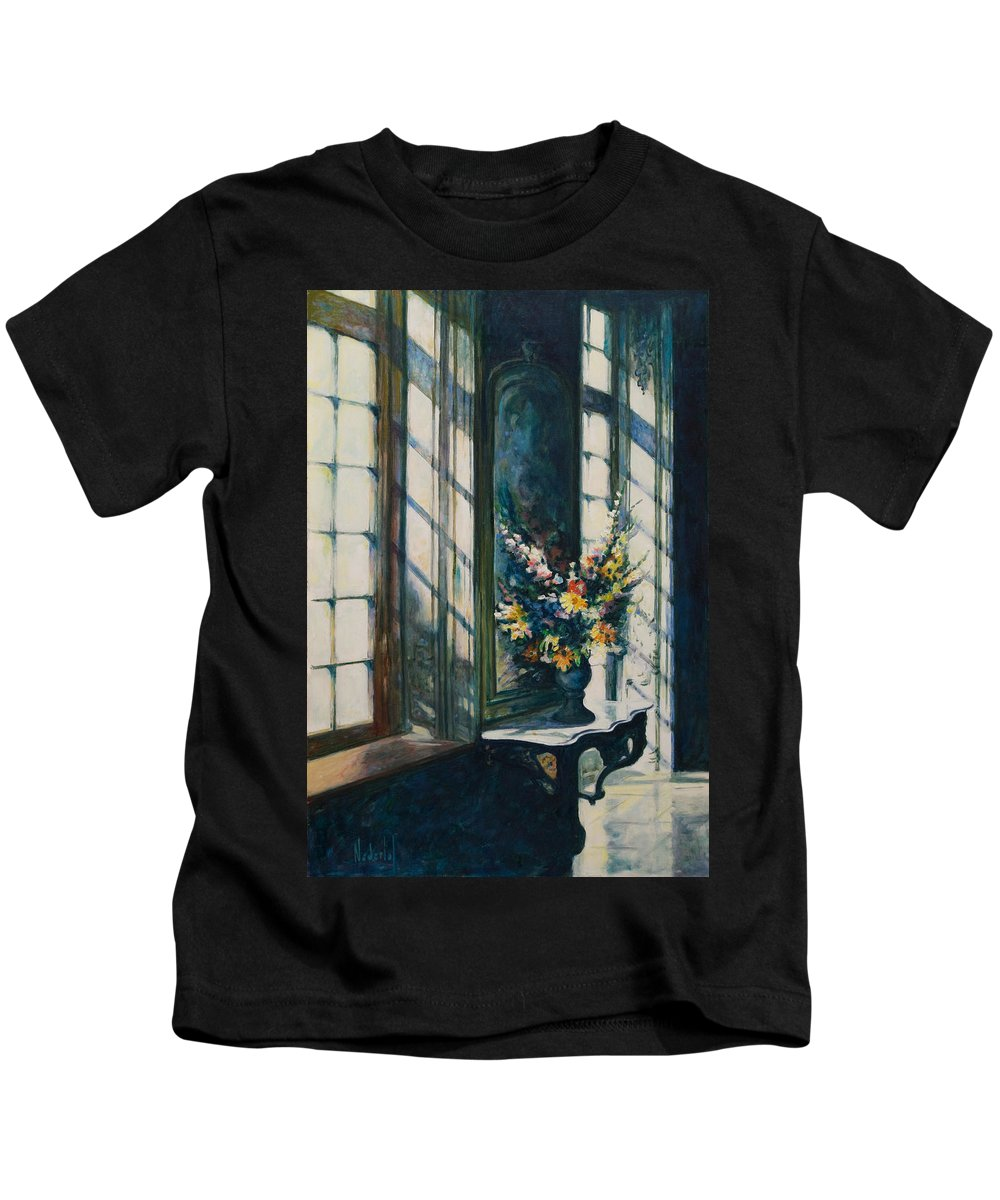 Window Kids T-Shirt featuring the painting The Window by Rick Nederlof