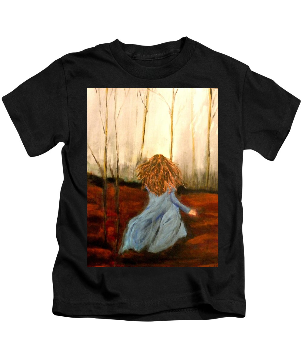 #woods Kids T-Shirt featuring the painting The Wood Nymph by Linda Waidelich