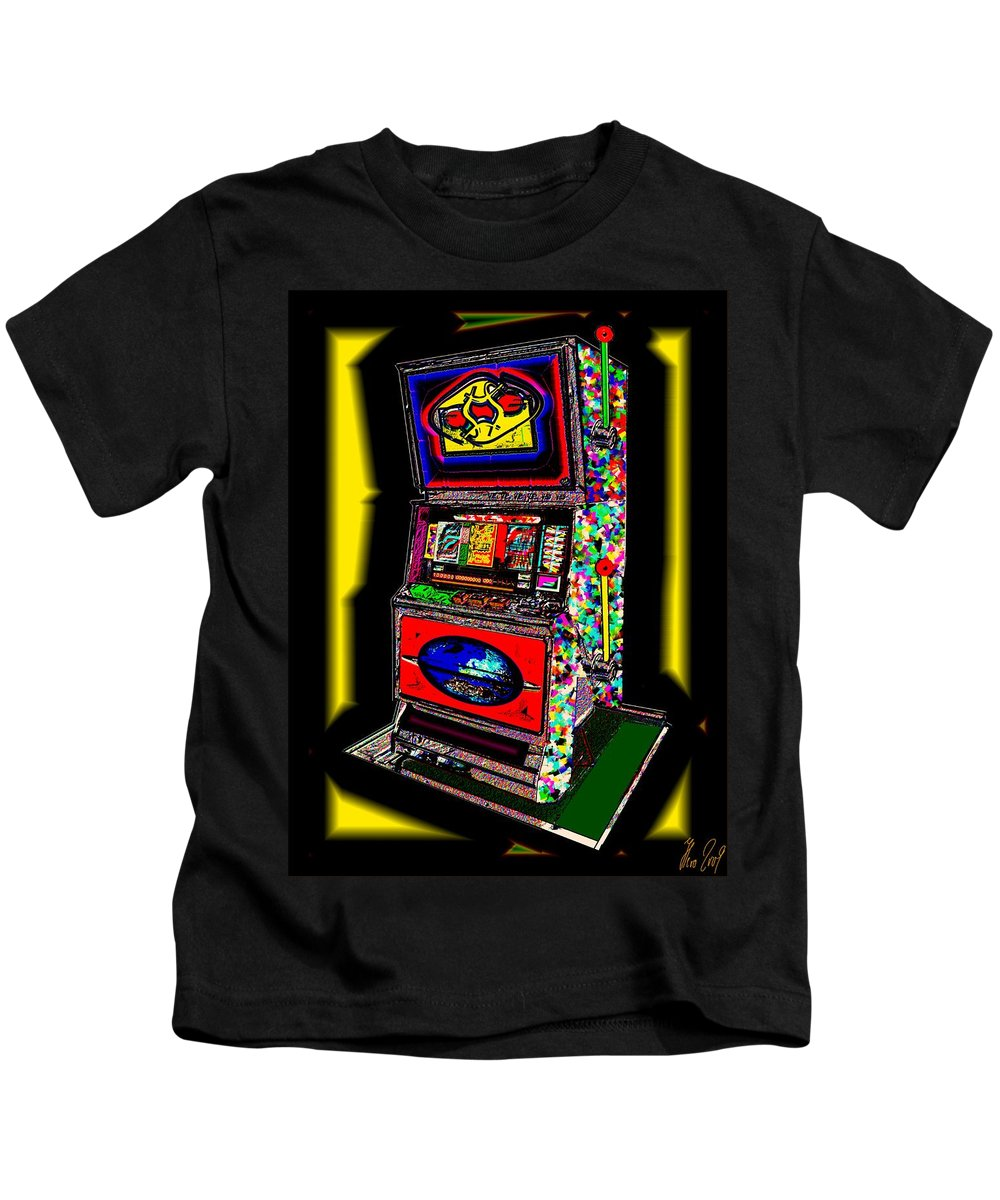 Greed Kids T-Shirt featuring the digital art the World-Trade-Slot-Machine by Helmut Rottler