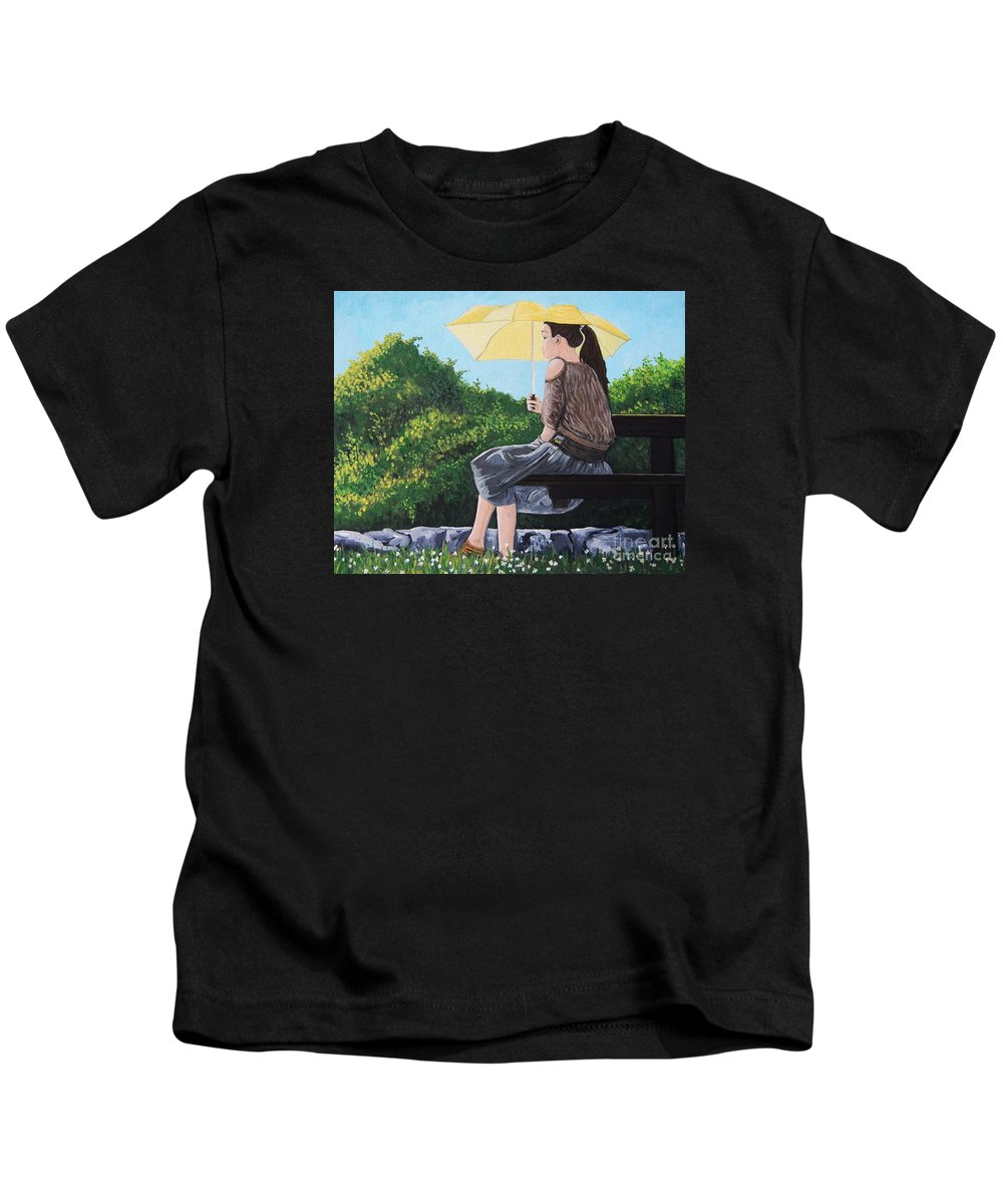 Park Scenes Kids T-Shirt featuring the painting The Yellow Umbrella by Reb Frost