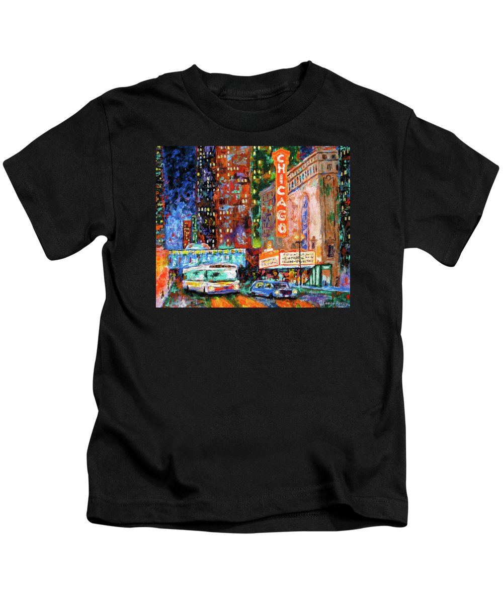Chicago Theater Kids T-Shirt featuring the painting Theater Night by J Loren Reedy