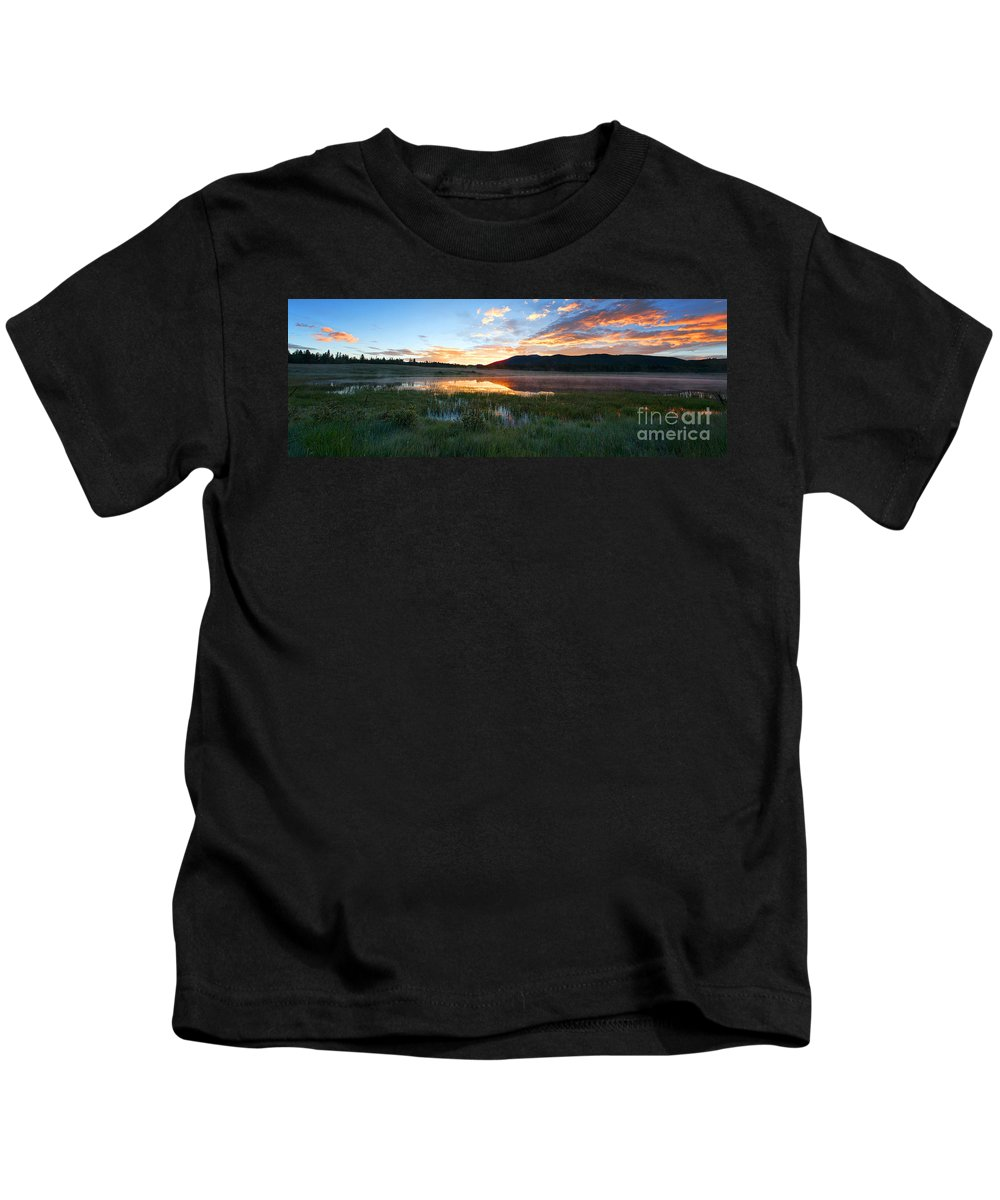 Mountain Sunrise Kids T-Shirt featuring the photograph There's A Song In The Air by Jim Garrison