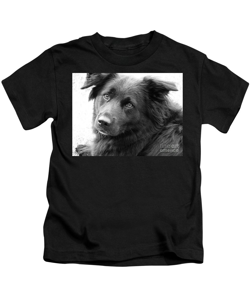 Dog Kids T-Shirt featuring the photograph Thinking by Amanda Barcon