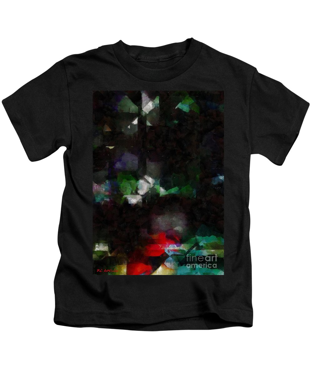 Abstract Kids T-Shirt featuring the painting This Gulf's On Fire by RC DeWinter