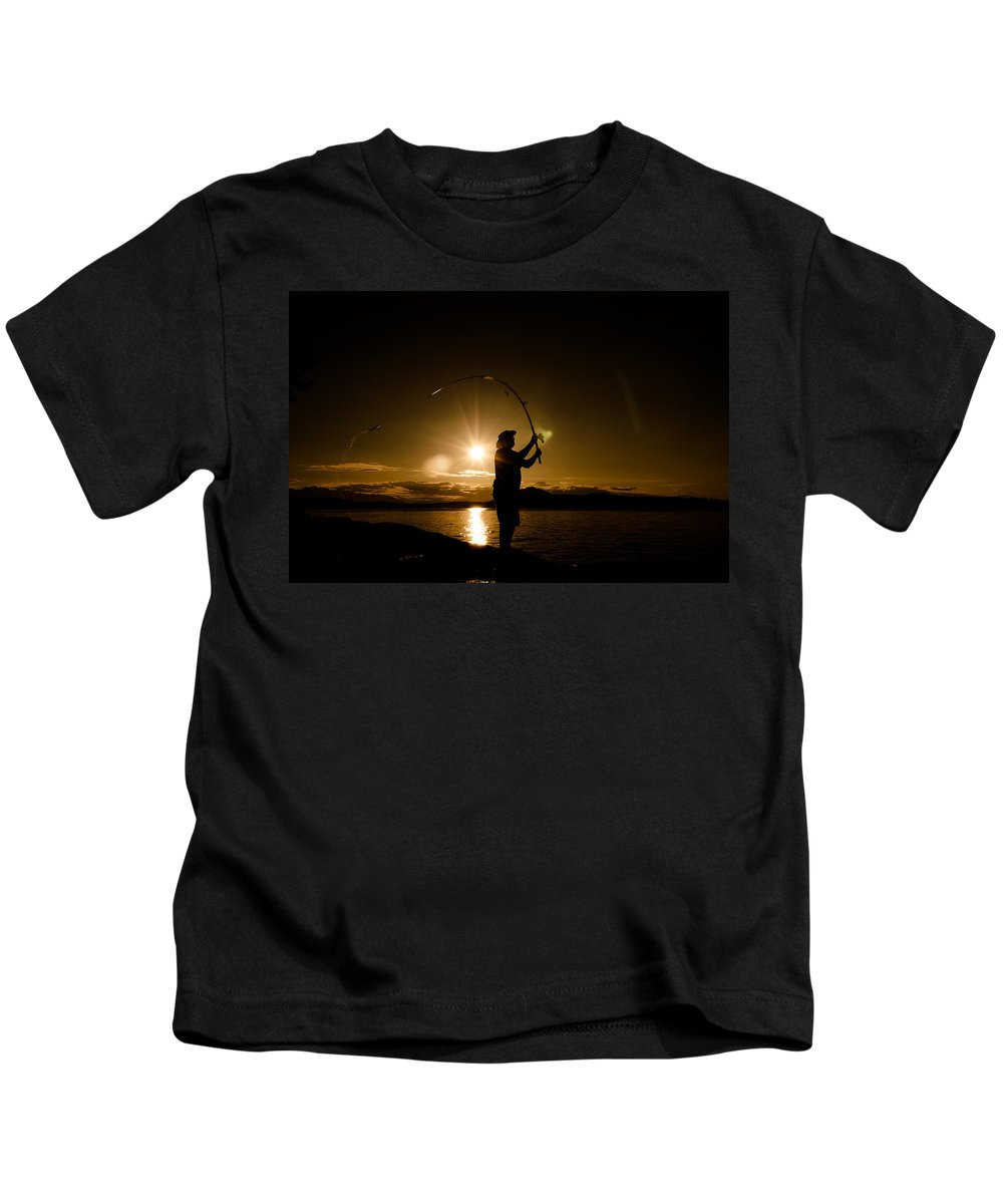 Fishing Kids T-Shirt featuring the photograph This Is The Last Cast by Roxy Hurtubise