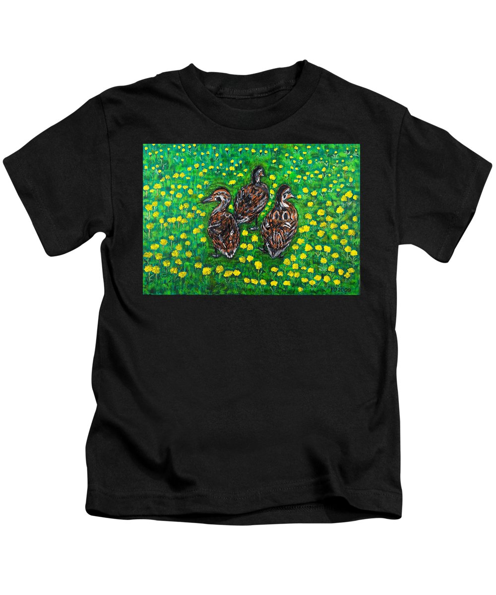 Bird Kids T-Shirt featuring the painting Three Ducklings by Valerie Ornstein