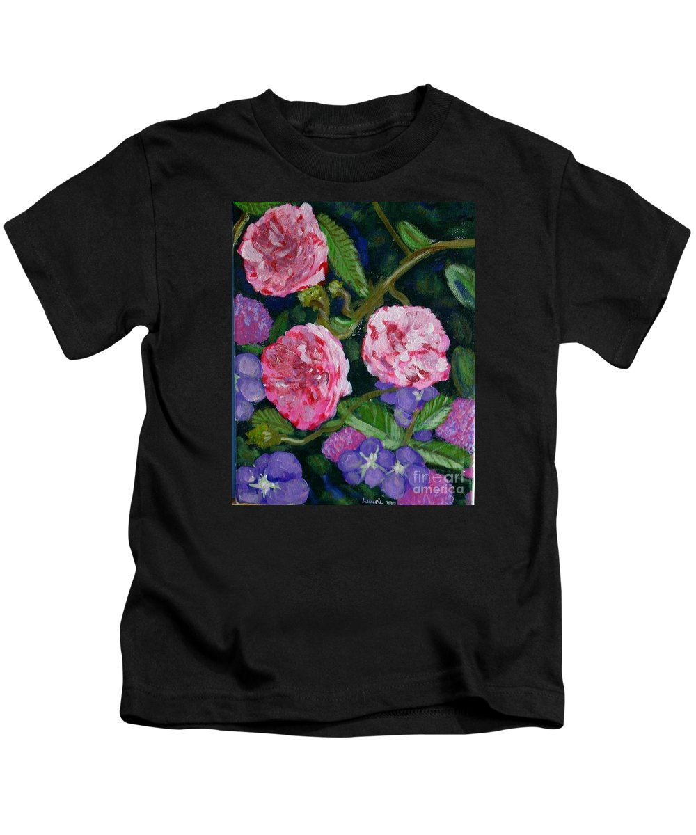 Roses Kids T-Shirt featuring the painting Three For The Show by Laurie Morgan