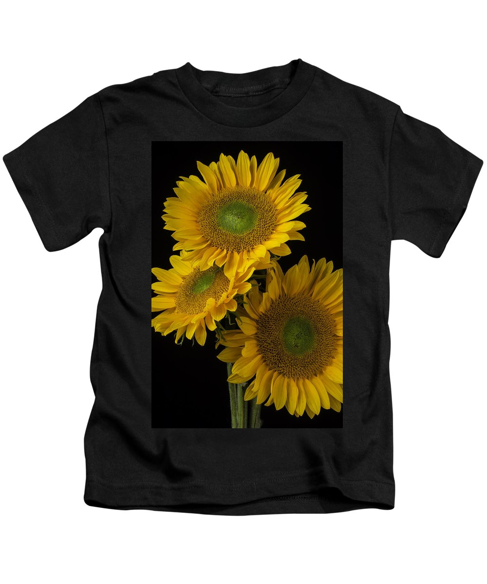 Three Kids T-Shirt featuring the photograph Three Golden Sunflowers by Garry Gay