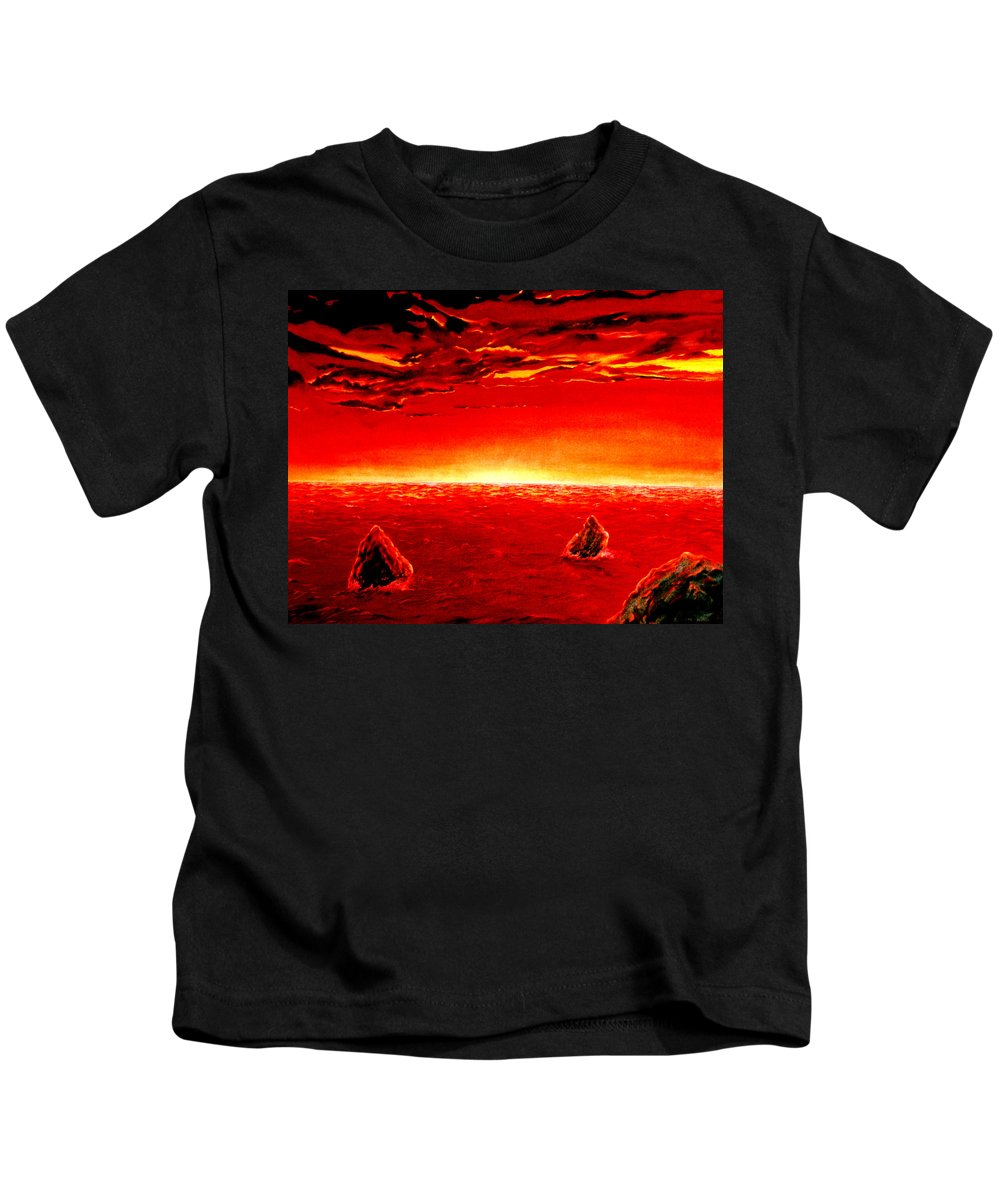 Seascape Kids T-Shirt featuring the painting Three Rocks In Sunset by Mark Cawood