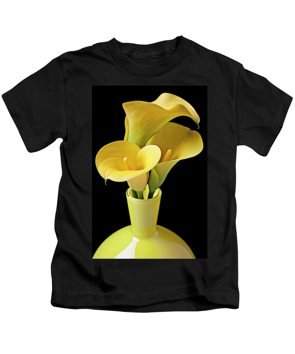 Calla Lily Kids T-Shirt featuring the photograph Three Yellow Calla Lilies by Garry Gay