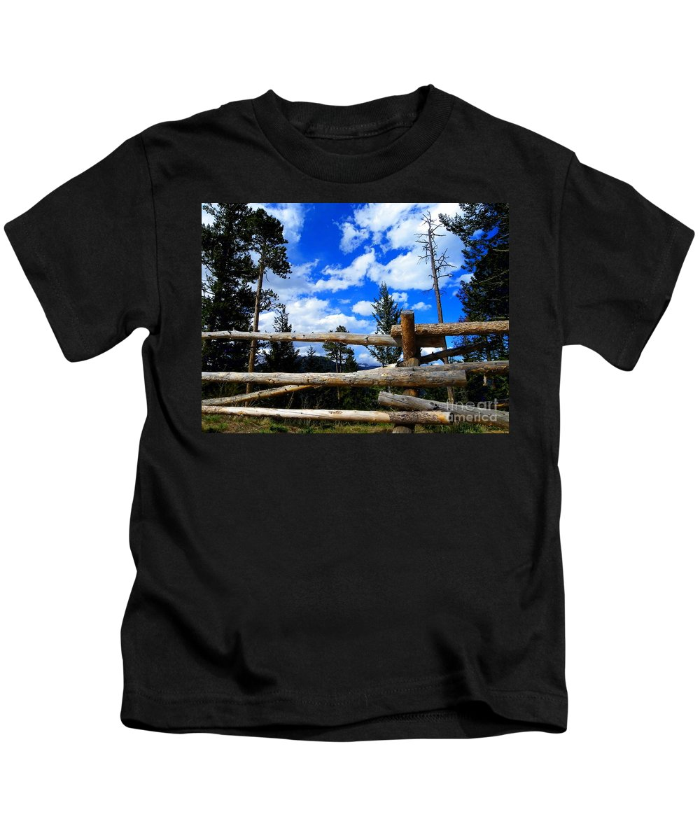 Wood Kids T-Shirt featuring the photograph Through The Fence by Charleen Treasures
