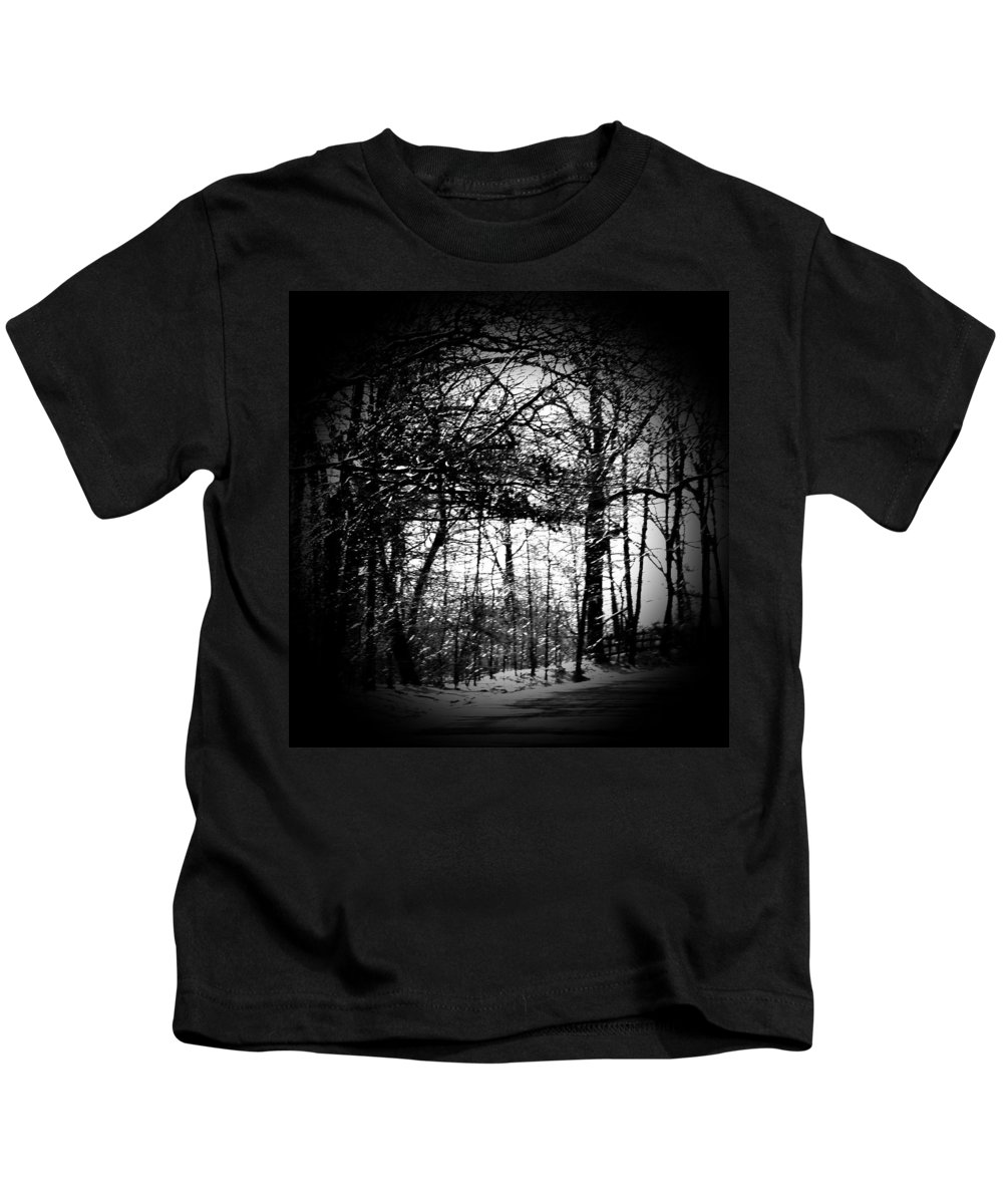 Trees Kids T-Shirt featuring the photograph Through The Lens- Black And White by Charleen Treasures