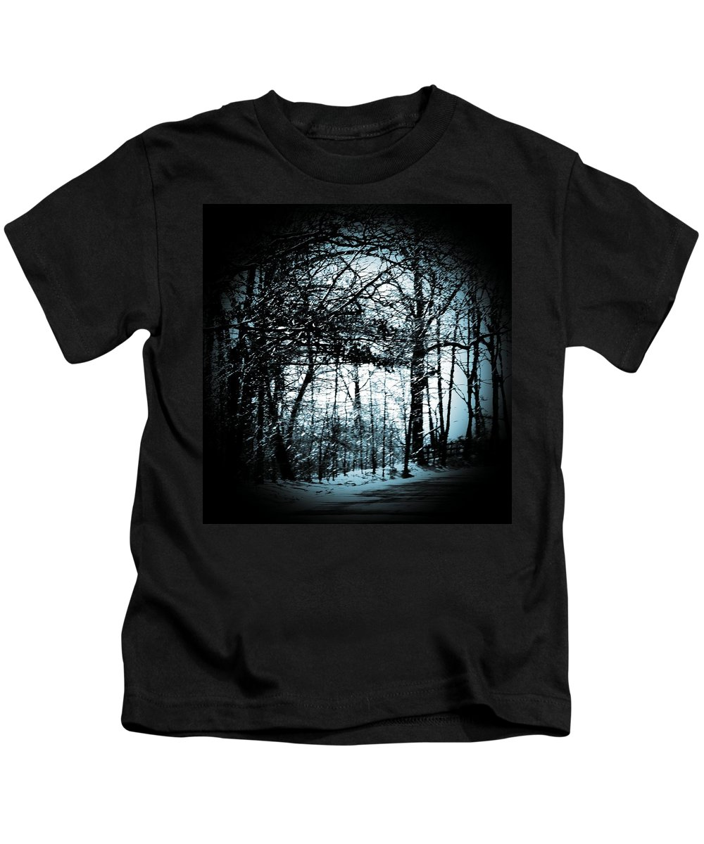 Trees Kids T-Shirt featuring the photograph Through The Lens-blue by Charleen Treasures