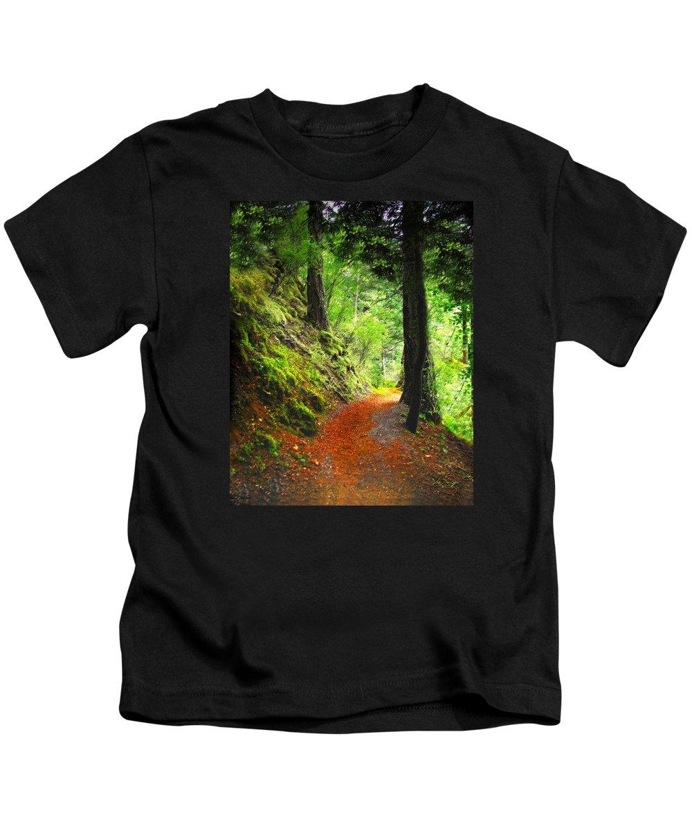 Path Kids T-Shirt featuring the digital art Through The Woods by Vicki Lea Eggen