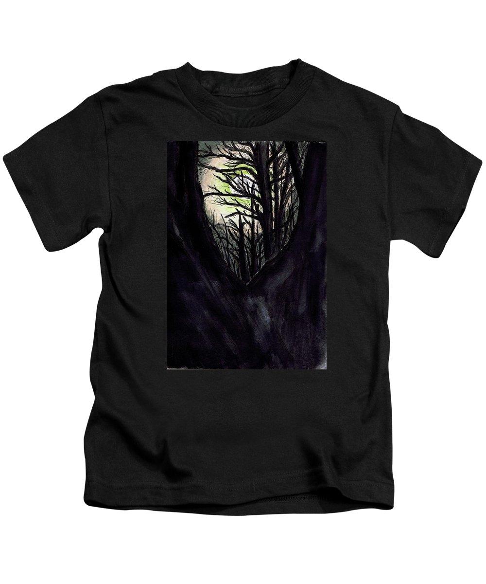 Dark Kids T-Shirt featuring the painting Thru To The Light by Renee Catherine Wittmann