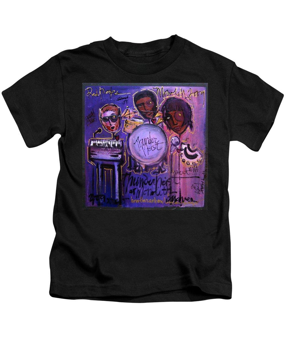 Thunderheist Kids T-Shirt featuring the painting Thunderheist Plays Monolith by Laurie Maves ART